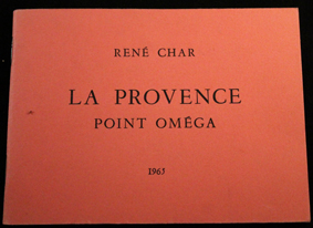 char, provence, point omega, 1965, originale, recueil, slogans, albion