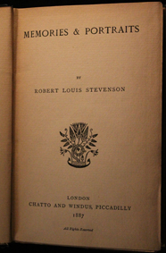 stevenson, memories, portraits, original, london, 1887, chatto windus