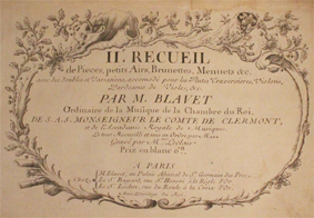 blavet, recueil, pieces, airs, menuets, score, partition, originale