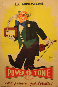 affiche, pub, grodreuil, powerstone, oreille, clown